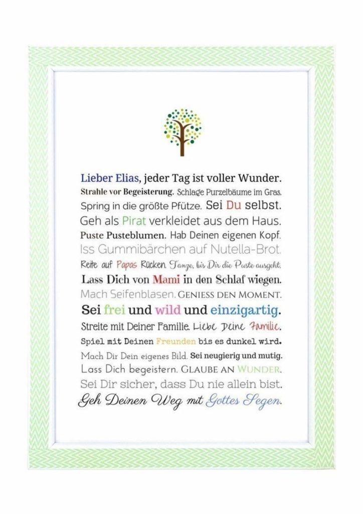Personalisierte Bilder mit Bibeltexten eignen sich auch als Taufgeschenk.